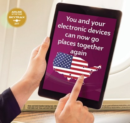 Personal electronic devices ban lifted on Qatar Airways flights to the United States