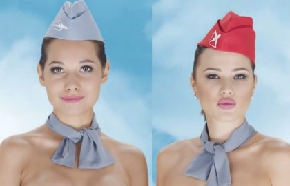 Flight attendants and pilots strip down to their hats in Kazakh travel ad