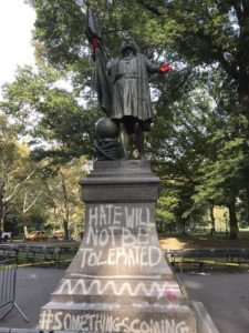 Vandals deface Columbus statue in New York's Central Park
