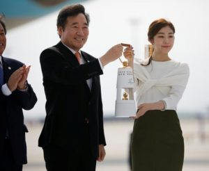 Olympic flame arrives in South Korea 100 days ahead of 2018 PyeongChang Winter Olympics