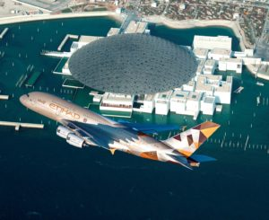 The Louvre Abu Dhabi: Etihad Airways A380 low level fly by