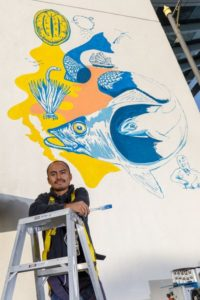 Mexican Artist Creates Original Mural on The Peak Tower HongKong