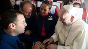 Pope Francis marries LATAM cabin crew couple at 34,000 feet