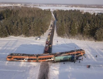 Passenger train collides with tractor-trailer in Estonia, 9 injured