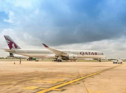Qatar Airways' A350-1000 touches down in U.S. for the first time