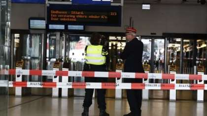 Amsterdam Central Rail Station scene of a stabbing