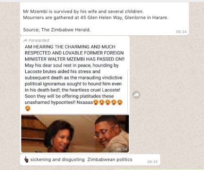 Former ZImbabwe Tourism Minister Dr. Walter Mzembi is alive