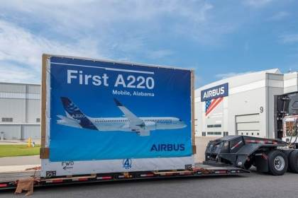 First large aircraft components for Airbus A220 production arrive in Mobile