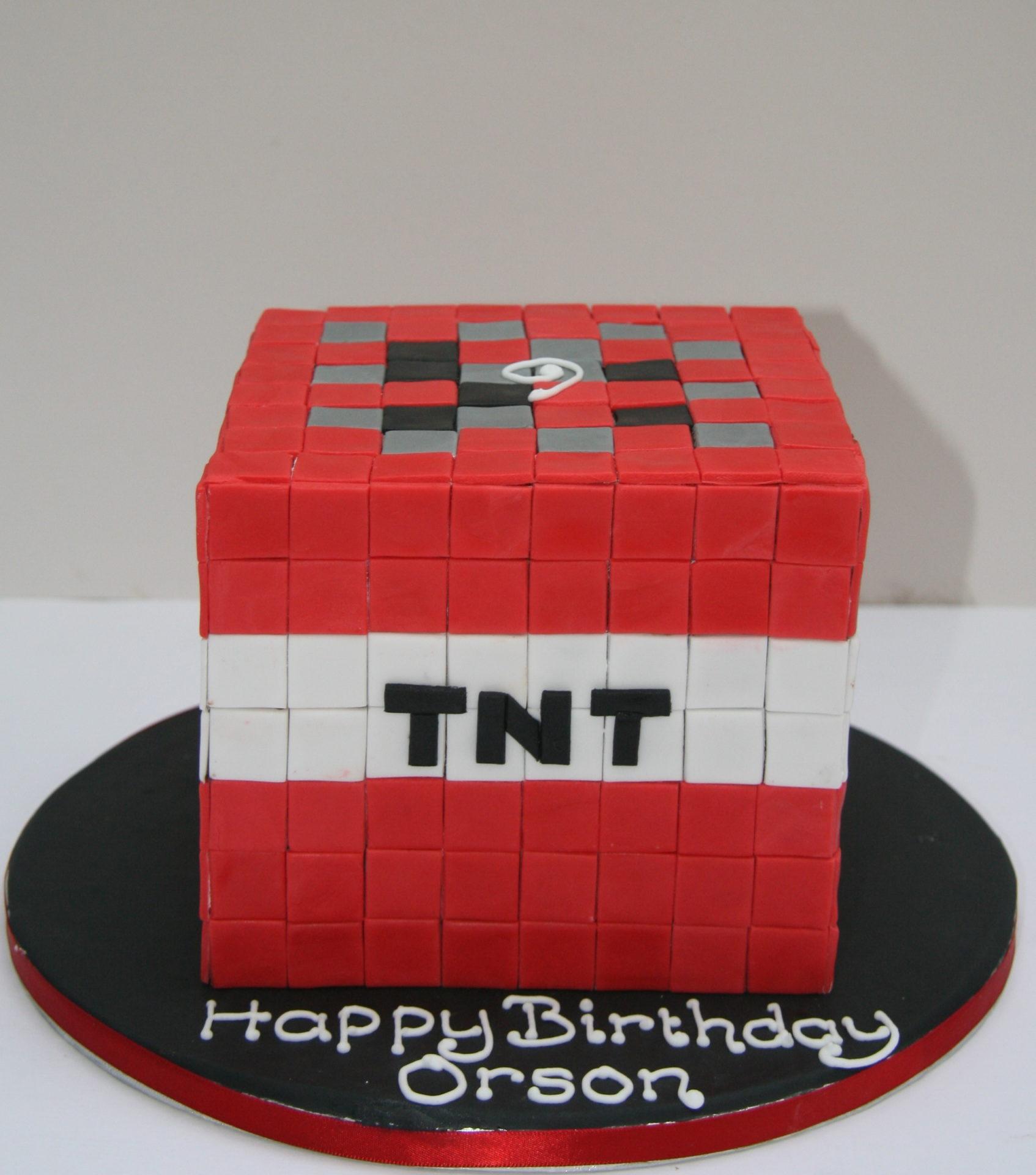 minecraft tnt birthday cake