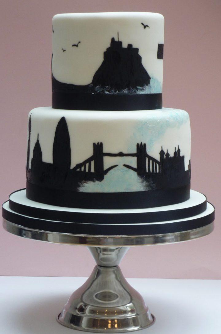 London and Northumberland Silhouette Wedding Cake