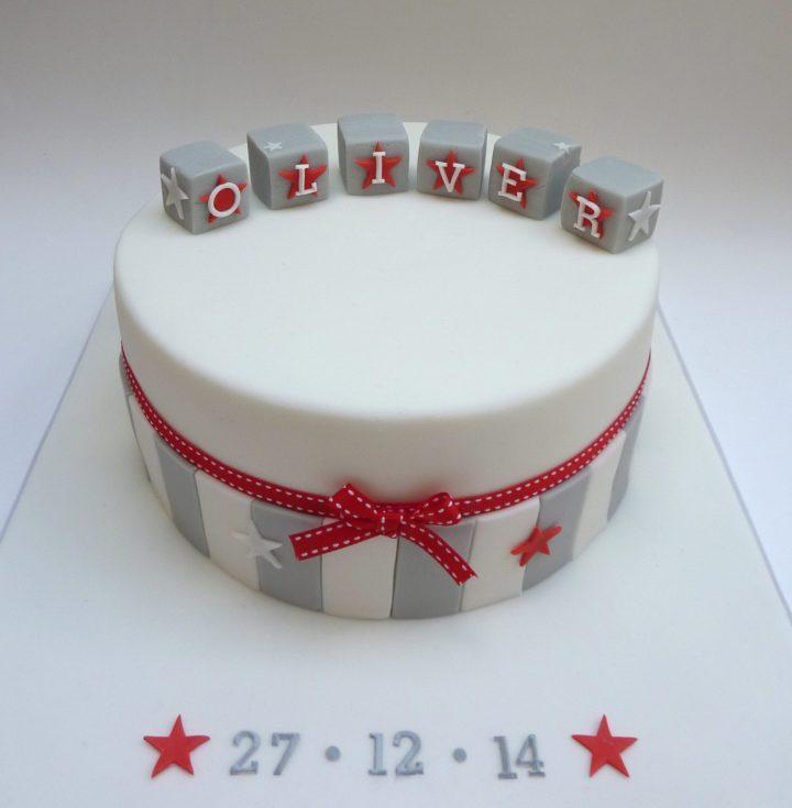 Contemporary Boy's Christening Cake