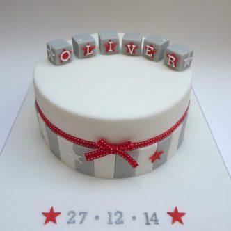 Contemporary boys christening cake