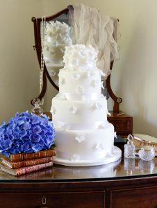 Tumbling Hydrangea Wedding Cake