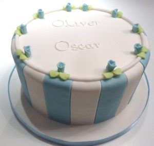 Blue Striped Christening Cake