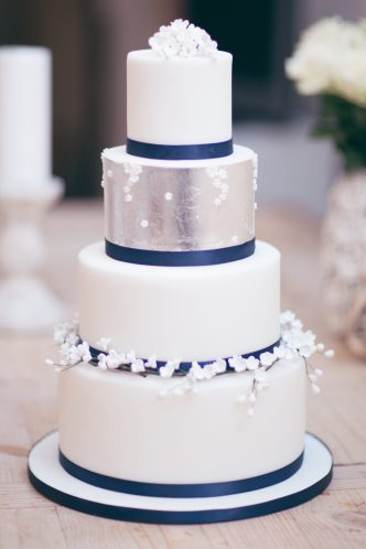 Lily of the Valley and Navy Wedding Cake