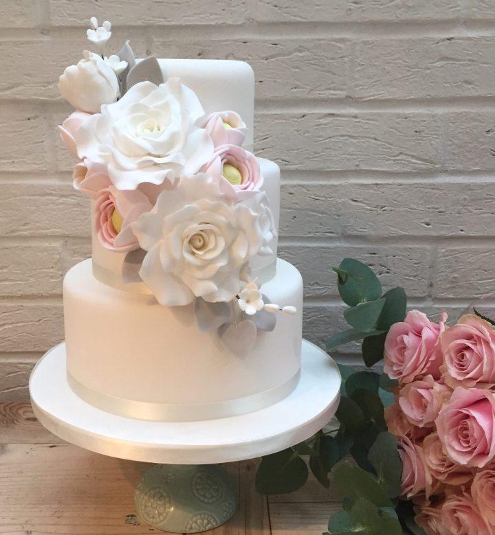 Wedding Cake with Flower Bouquet