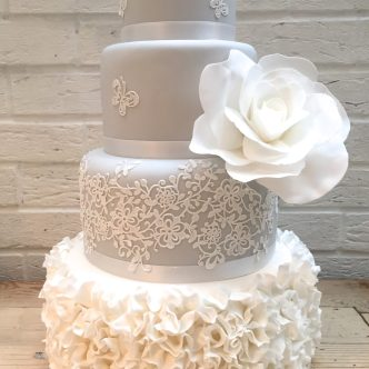Grey Lace and Ruffle Cake