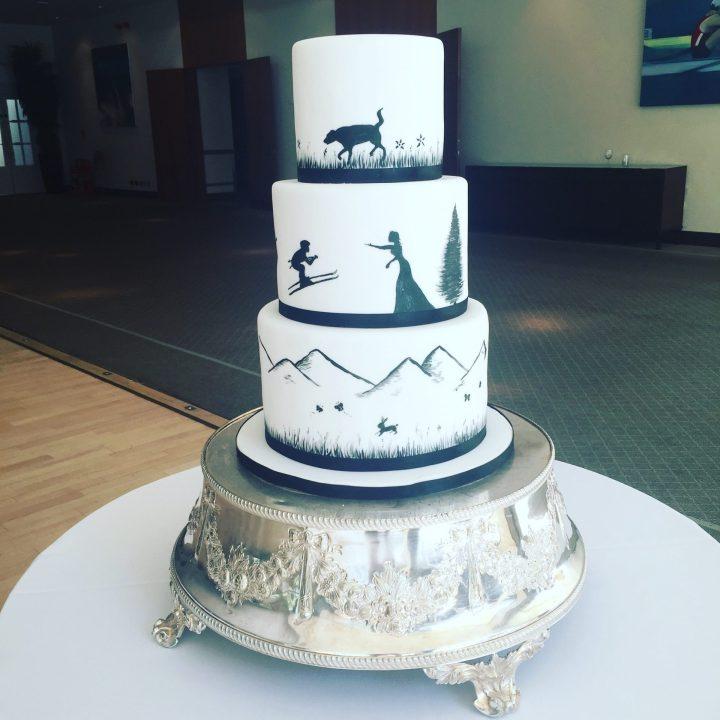 Swiss inspired silhouette wedding cake