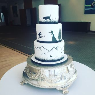 Hand Painted Silhouette Wedding Cake