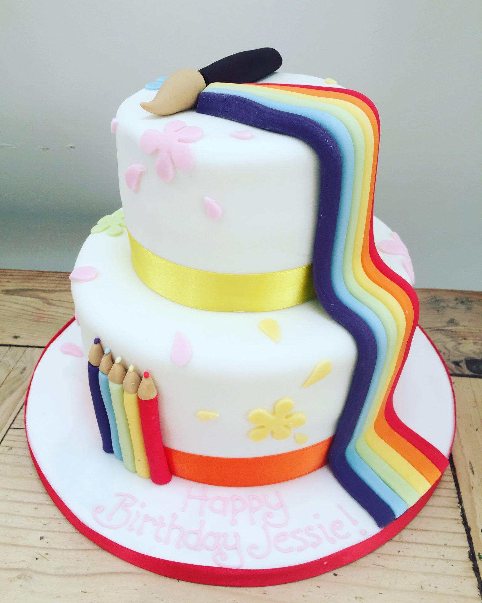 Rainbow Art Birthday Cake – Etoile Bakery