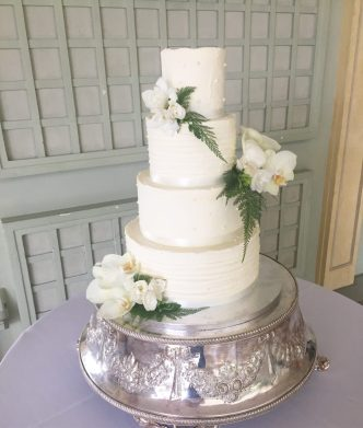 Buttercream Wedding Cake with Orchids