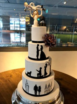 Hand Painted Wedding Cake with Sugar Figurines
