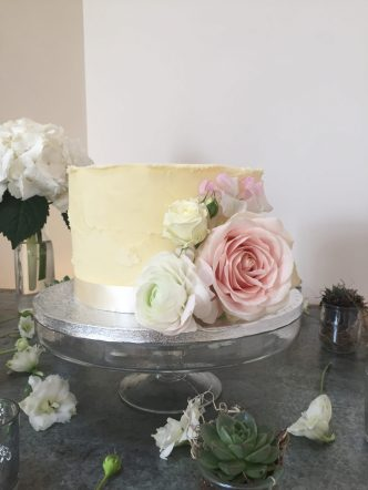 Simple Buttercream Cake with Fresh Flowers