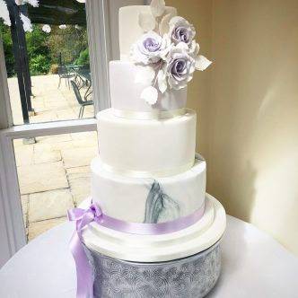 Lilac Themed Wedding Cake