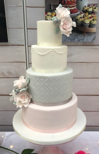Grey and Blush Rose Wedding Cake