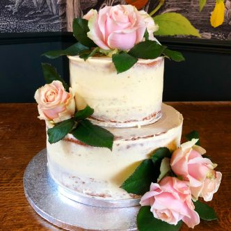 Semi Naked Cake with Roses
