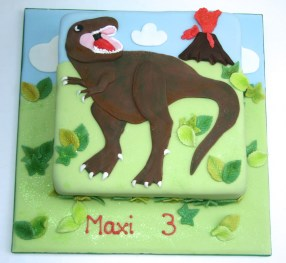 T-Rex, exploding volcanos... It's all there in this pre-historic cake