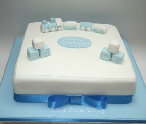 Boy's Train Christening Cake