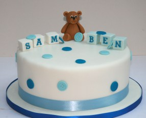 Button Bear Christening Cake
