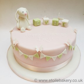 Bunting and Bunny Christening Cake