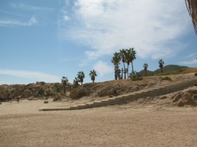 Chileno Beach, Cabo San Lucas, Mexico: steps from the sand and up the hill to get to the status of the Chileno