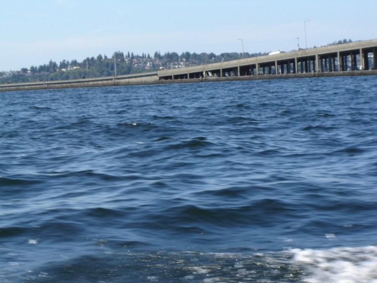 520 Floating Bridge touching the water, Lake Washington, WA