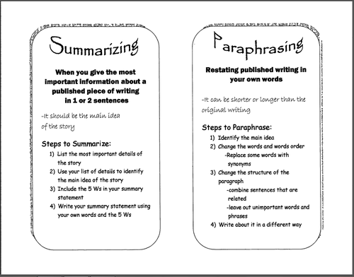 Paraphrase Essay Main Idea Summarizing And Paraphrasing Lessons