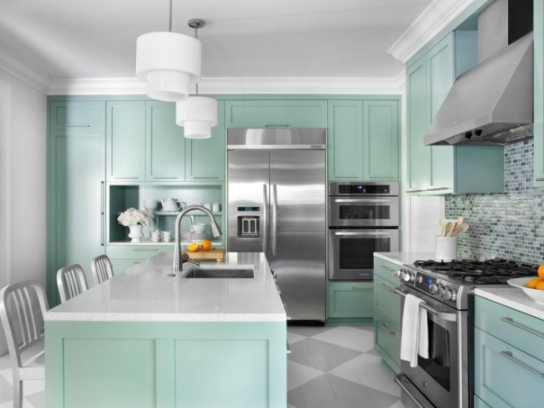 Crisp White and Turquoise - popular kitchen paint colors