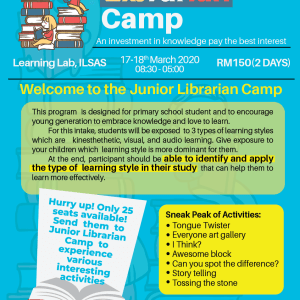 JUNIOR LIBRARIAN CAMP – 2020