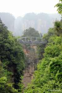 A little bridge connecting two rocks in ZhangJiaJie National Forest Park