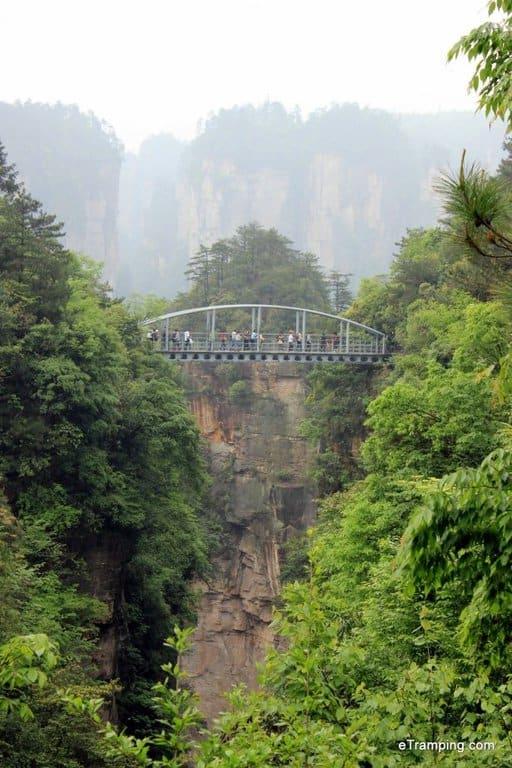 A little bridge connecting two rocks in ZhangJiaJie National Forest Park