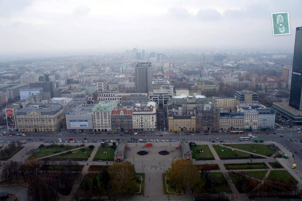 The view seen from the top of the Palace of Culture and Science