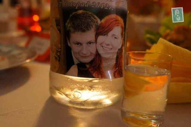 Polish vodka with faces of the bride and groom