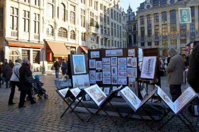 City Centre of Brussels paintings in the street
