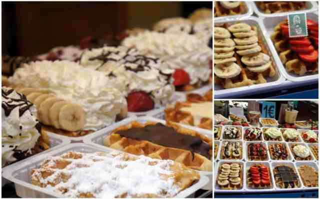 Belgium waffles can be served with fruits, nutella, whipped cream and different syrops