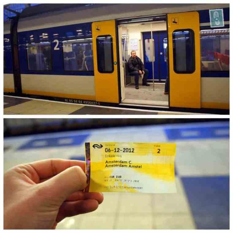 Subway ticket in Amsterdam Amstel