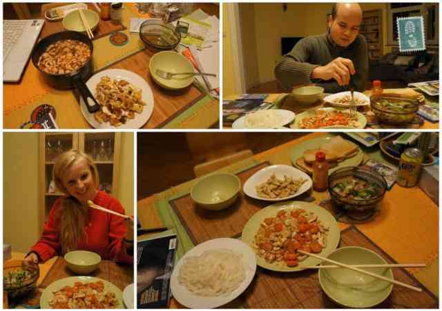 Cooking some Vietnamese food with my host in Brussels.