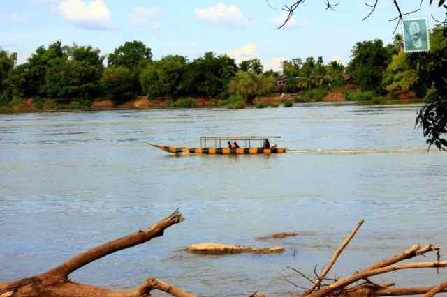 Long motor boat in Laos