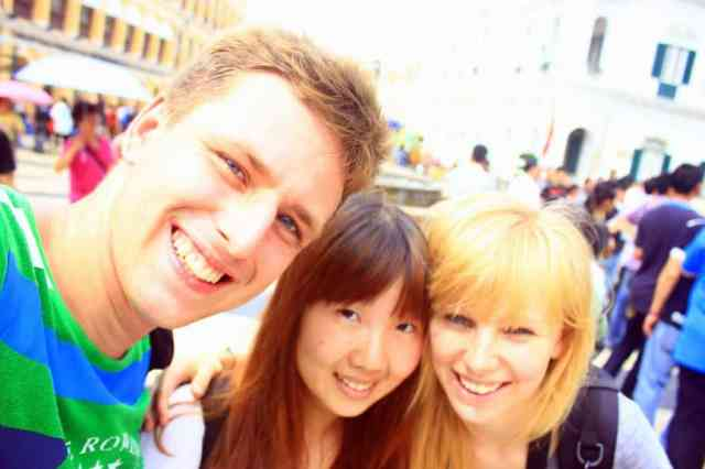 3 people are happy that they explore Macau