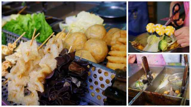 Local stands with veggies and seafood in Macau